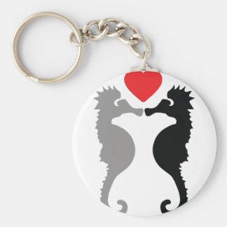 2 seahorses in love icon key chains