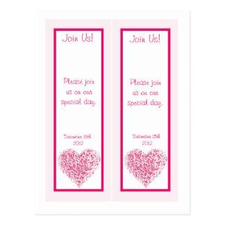 2 señales rosas claras de la fecha de la reserva d tarjeta postal