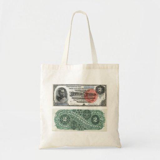 $2 series 1886 del certificado de plata del billet bolsa tela barata