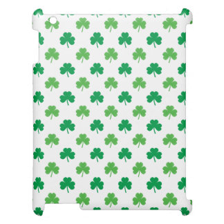 2-Shades of Green Shamrocks on White St. Patrick's Cover For The iPad 2 3 4