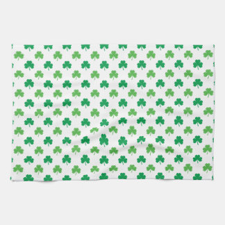 2-Shades of Green Shamrocks on White St. Patrick's Kitchen Towel