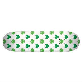 2-Shades of Green Shamrocks on White St. Patrick's Skateboard Deck