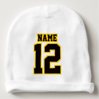 2 Side Beanie WHITE BLACK GOLD Football Jersey