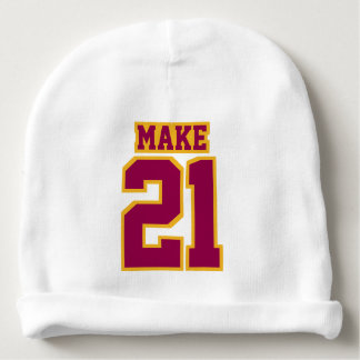 2 Side Beanie WHITE BURGUNDY GOLD Football Jersey