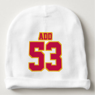 2 Side Beanie WHITE CRIMSON GOLD Football Jersey