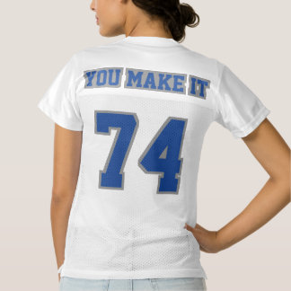 2 Side BLUE GREY WHITE Womens Football Jersey