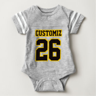 2 Side GRAY BLACK GOLD Crewneck Football Outfit Infant Bodysuit