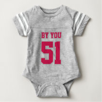 2 Side GRAY WHITE CRIMSON Crewneck Football Outfit Baby Bodysuit