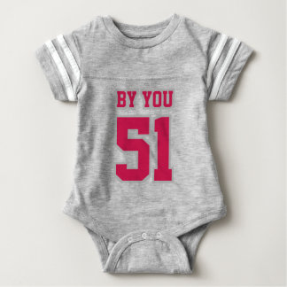 2 Side GRAY WHITE CRIMSON Crewneck Football Outfit Baby Bodysuit