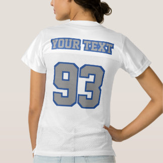 2 Side GREY BLUE WHITE Womens Football Jersey