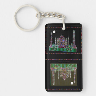 2 side Printed DIY easy add or replace photo image Double-Sided Rectangular Acrylic Keychain