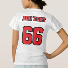 2 Side Red Black White Womens Football Jersey at Zazzle