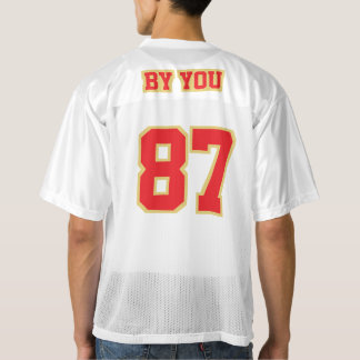2 Side RED OLD GOLD WHITE Mens Football Jersey
