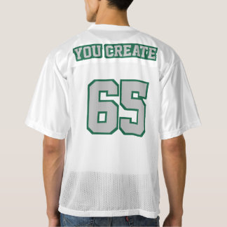 2 Side SILVER DARK GREEN WHITE Men Football Jersey