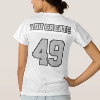 2 Side SILVER GRAY WHITE Womens Football Jersey