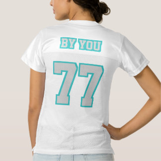 2 Side SILVER TURQUOISE WHITE Womens Sports Jersey
