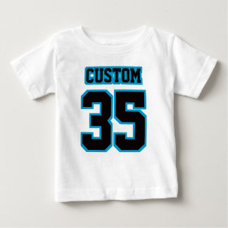2 Side WHITE BLACK BLUE Football Crewneck Baby T-Shirt