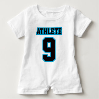 2 Side WHITE BLACK BLUE Romper Football Jersey