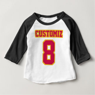 2 Side WHITE BLACK CRIMSON GOLD 3/4 Sleeve Raglan Baby T-Shirt