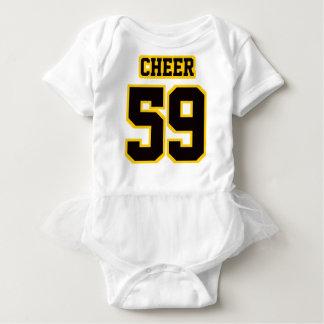 2 Side WHITE BLACK GOLD Tutu Football Babywear Infant Onesie