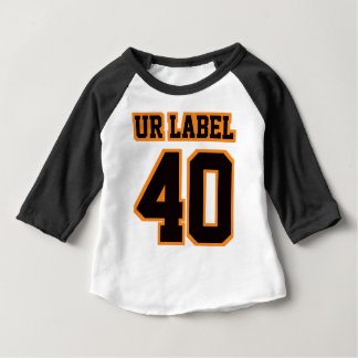 2 Side WHITE BLACK ORANGE 3/4 Sleeve Raglan T Shirt