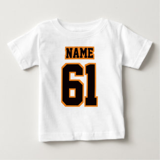2 Side WHITE BLACK ORANGE Football Crewneck Baby T-Shirt