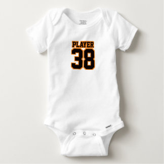 2 Side WHITE BLACK ORANGE One Piece Football Baby Tee Shirt