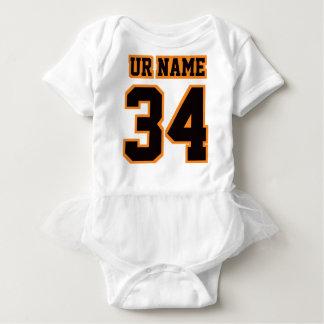 2 Side WHITE BLACK ORANGE Tutu Football Babywear Tee Shirt