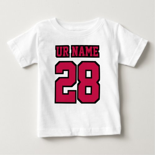 2 Side WHITE CRIMSON RED BLACK Football Crewneck Baby T_Shirt