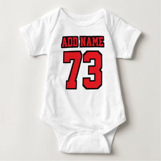 2 Side WHITE RED BLACK Football Jersey Outfit Baby Bodysuit