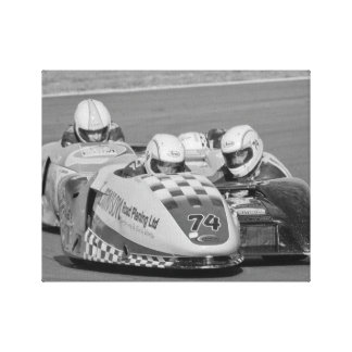 2 sidecars racing canvas print