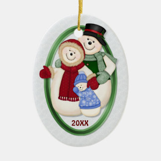2 Sided - 1st Christmas Blue Frosty Snowman Family Double-Sided Oval Ceramic Christmas Ornament