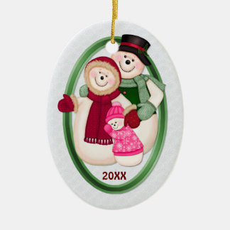2 Sided - 1st Christmas Pink Frosty Snowman Family Double-Sided Oval Ceramic Christmas Ornament