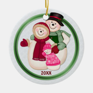 2 Sided - 1st Christmas Pink Frosty Snowman Family Double-Sided Ceramic Round Christmas Ornament