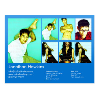 2-Sided Actor & Model Blue Headshot Comp Postcard