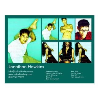 2-Sided Actor & Model Green Headshot Comp Postcard