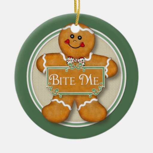 2 Sided - Bite Me Gingerbread Man Ornament