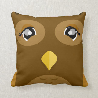 2 Sided Cute Owl with Tail Feathers Throw Pillow