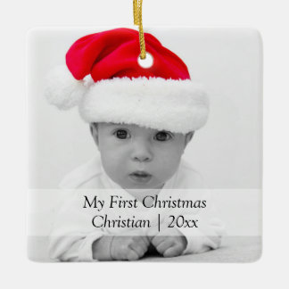 2 Sided First Christmas Black Text Personalized Ceramic Ornament