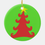 2-Sided Green Christmas Tree on Red - Red on Grn Double-Sided Ceramic Round Christmas Ornament
