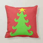 2-Sided Green Christmas Tree on Red - Red on Grn Throw Pillows