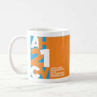 2-sided logo mug, orange & blue