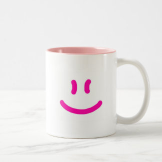 2-Sided More Happy/Smile-pink Two-Tone Coffee Mug