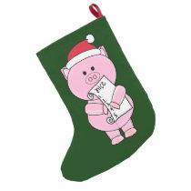 2 Sided Naught Or Nice Pig Christmas Stocking
