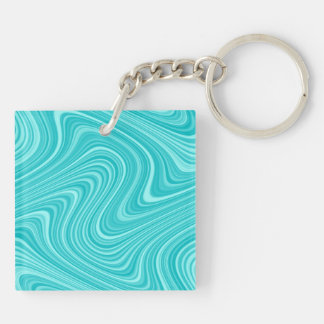 2 Sides 2 Colors Red/Blue White Curvy Line Pattern Keychain