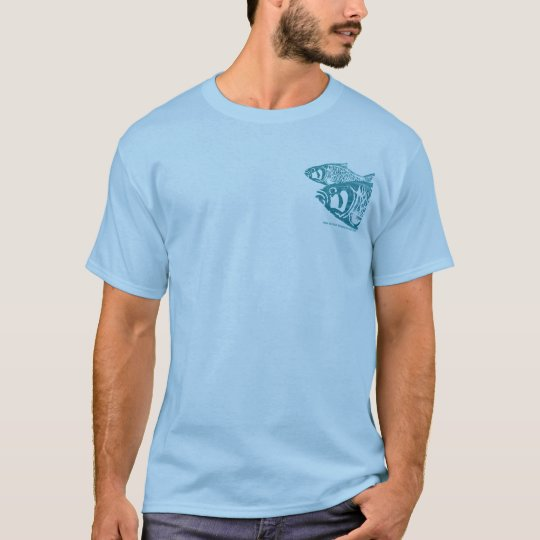 2 sides 4  Fish Blue T Shirt To Customize