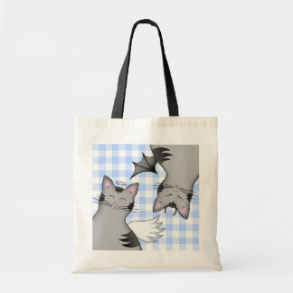 2 sides to a cat, good kitty and bad gray tabby budget tote bag