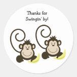 2 Silly Monkeys Birthday or Baby Shower Favor Classic Round Sticker