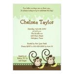 2 Silly Monkeys TWIN GIRLS Monkey Baby Shower Personalized Invite