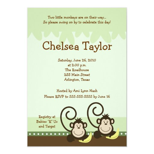 "2 Silly Monkeys TWINS Jungle Monkey Baby Shower 5"" X 7"" Invitation Card"